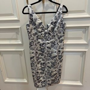 Carmen Marc Valvo Collection Silver Metallic Dress